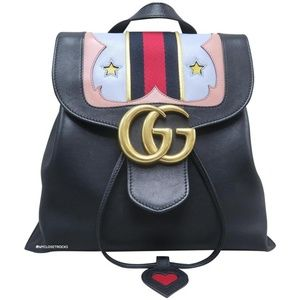 Gucci Black Marmont GG Leather Backpack